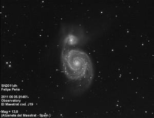SN2011dh Observatorio Astronómico El Maestrat cód. J19 Felipe Peña