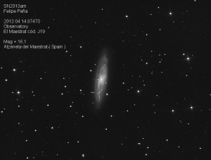 SN2013am Observatorio Astronómico El Maestrat cód. J19 Felipe Peña.